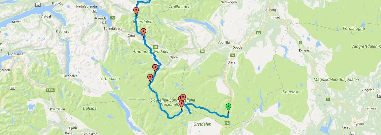 GPS-Daten Dovrefjell und Trollheimen