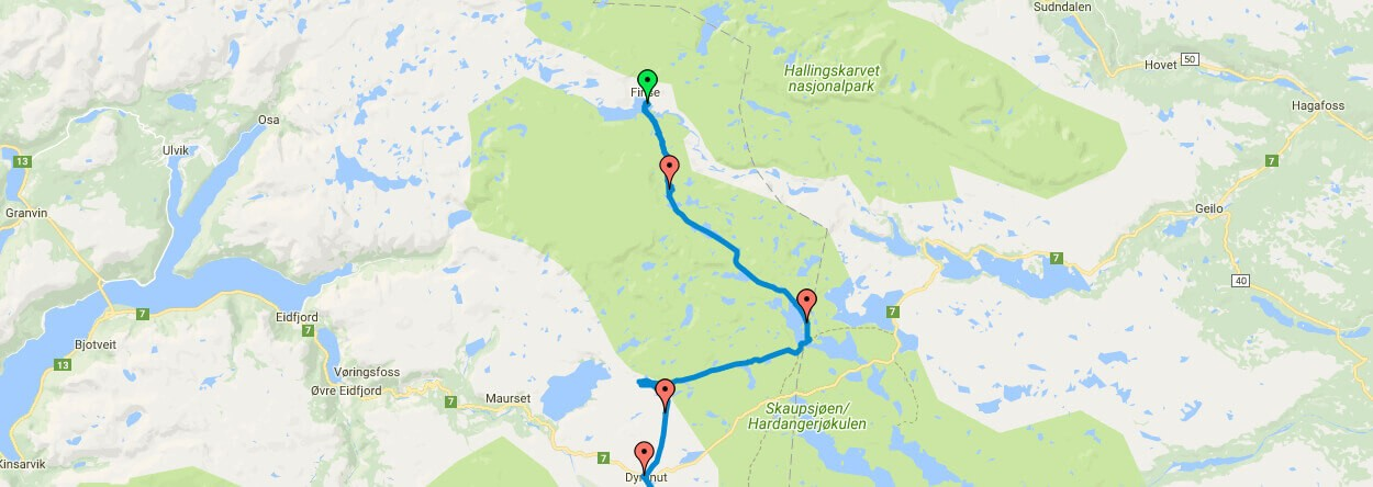 GPS-Daten Hardangervidda Winter,Norwegen